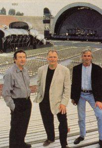 Pink Floyd (fra venstre Nick Mason, David Gilmour og Rick Wright).