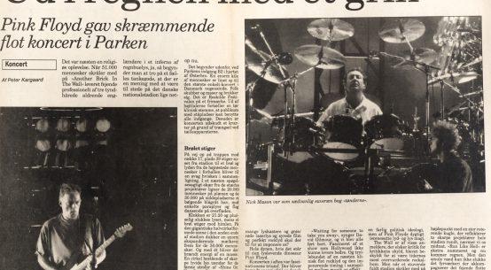 Anmeldelse fra Dagbladet Ringsted af Pink Floyd koncerten i Parken den 25 August 1994.