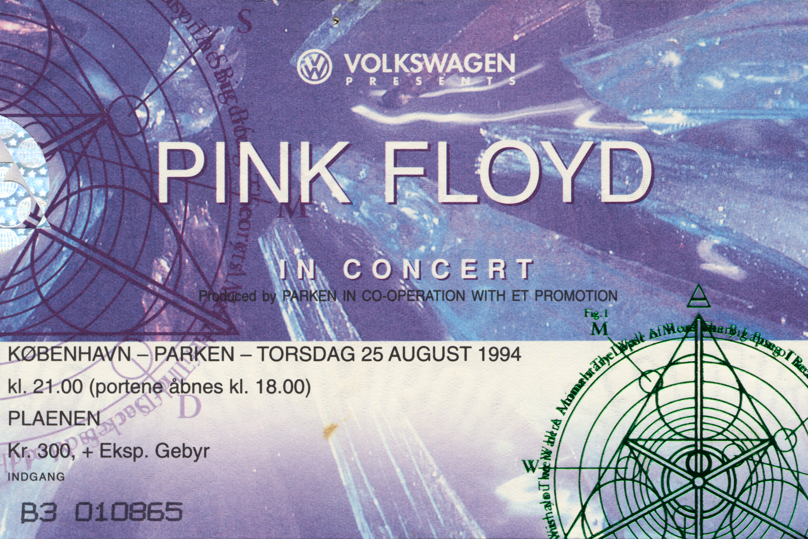 Ticket from the Pink Floyd concert in Parken Stadium on August 25th, 1994.