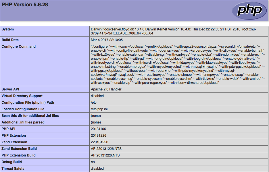 Upgrading PHP 5 6 on macOS Sierra running Server 5 2 - FLOYD